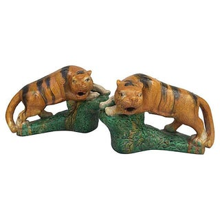 Majolica Glaze Terracotta Tigers - A Pair