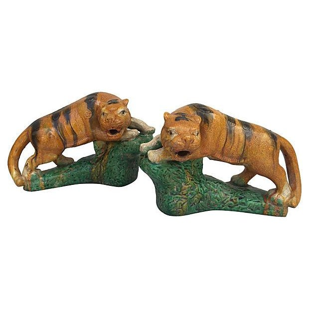 Majolica Glaze Terracotta Tigers - A Pair For Sale