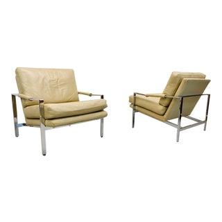 Mid Century Modern Milo Baughman Thayer Coggin Chrome Flat Bar Lounge Chairs - a Pair For Sale