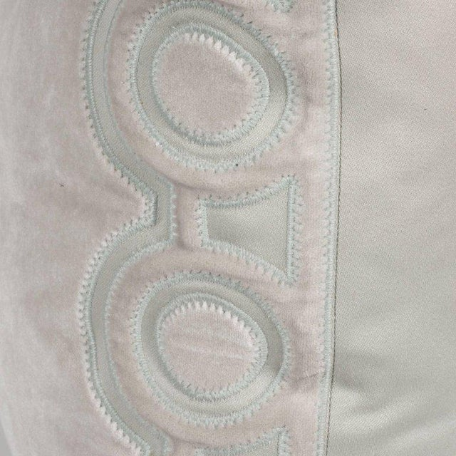 1920s Custom Handmade Dove Gray Pillow with Embroidered Circular and Geometric Forms For Sale - Image 5 of 6
