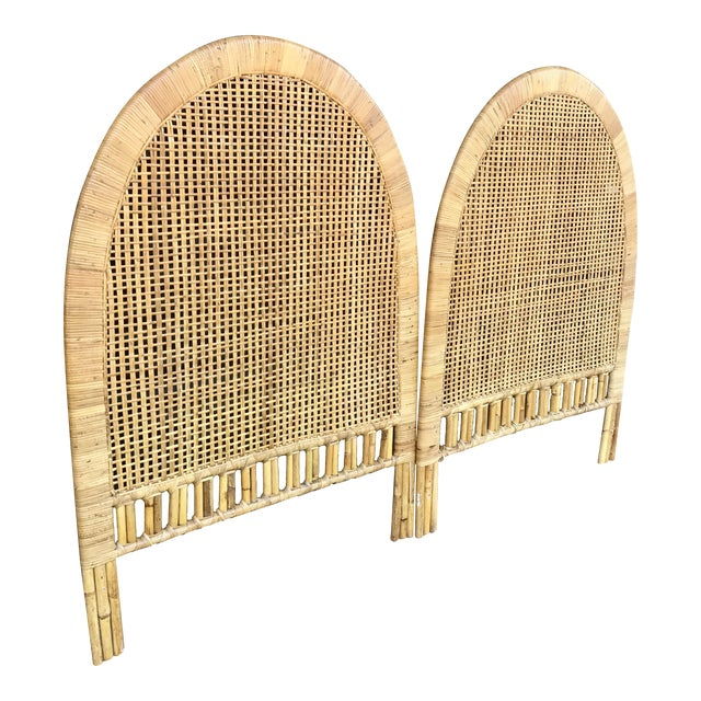 Vintage Rattan Caning Twin Headboards - A Pair - Image 1 of 10