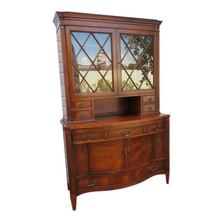 Traditional Mahogany Two Part China Display Cabinet Cupboard by Morganton For Sale