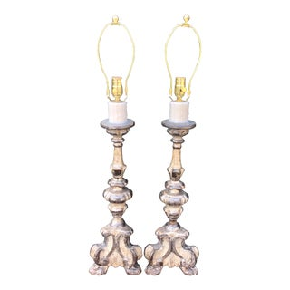 Pair of Antique 18c Italian Giltwood Prickets Now Designer Lamps For Sale