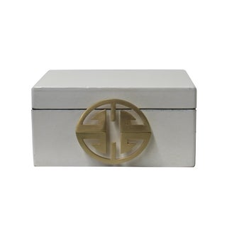 Oriental Round Hardware White Rectangular Container Box Small For Sale