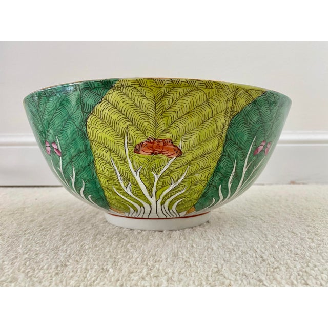 Vibrant Green Porcelain Bowl With Butterflies For Sale - Image 4 of 10