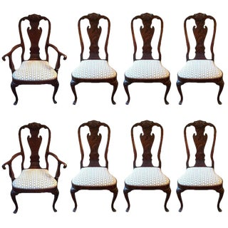 1950s Vintage Regal Queen Anne Style Mahogany Dining Chairs- Set of 8 For Sale