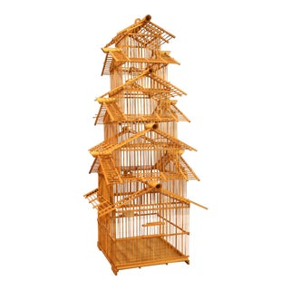 Large Vintage 6-Story Bamboo & Matchstick Chinoiserie Style Bird Cage