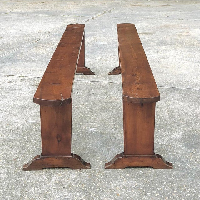 9th Century French Cherrywood Farm Table With Pair Benches For Sale In Dallas - Image 6 of 13