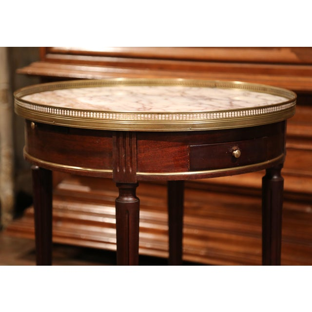 Early 20th Century French Louis XVI Round Bouillotte Table with Marble Top - Image 2 of 10