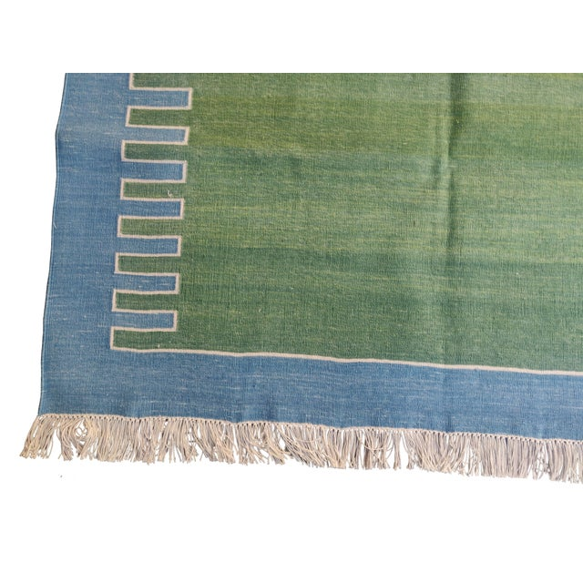 Contemporary Handmade Cotton Rug, Green with Blue Geometric Border and Cream Fringe 3'x4' For Sale - Image 3 of 7