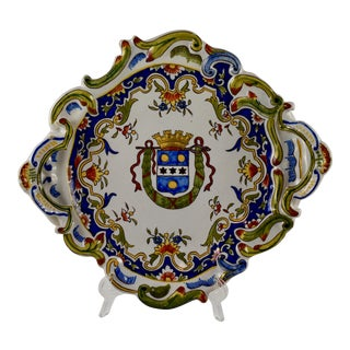 Cherbourg French Armorial Faïence Handled Platter For Sale