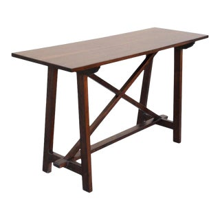 Arts and Crafts Walnut Console Table For Sale