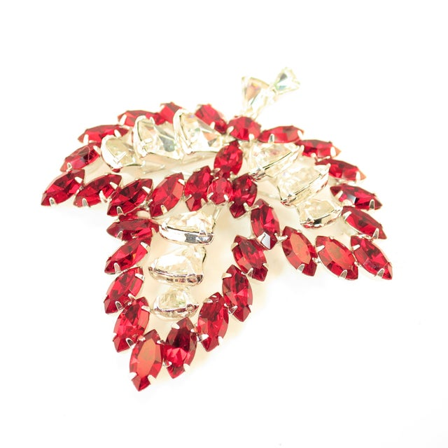 Metal Vendome Ruby Crystal Leaf Brooch 1950s For Sale - Image 7 of 12
