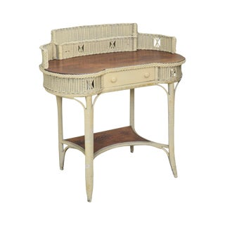 Victorian Wicker & Oak Antique Kidney Shape Writing Desk