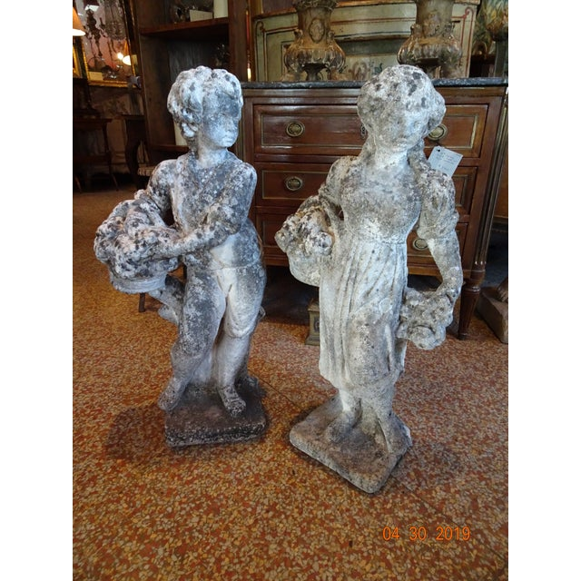 Pair of Vintage French Stone Statues For Sale - Image 11 of 13