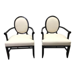 Transitional Barbara Barry Cream Oval X-Back Arm Chairs - a Pair For Sale
