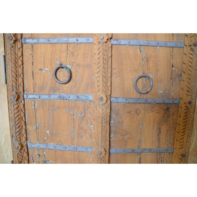 1990s Antique Old Door Indian Cabinet For Sale - Image 5 of 8
