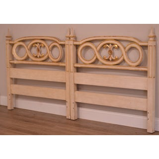 John Widdicomb French Regency Style Off White and Gilt Accent Pair Twin Headboards Preview
