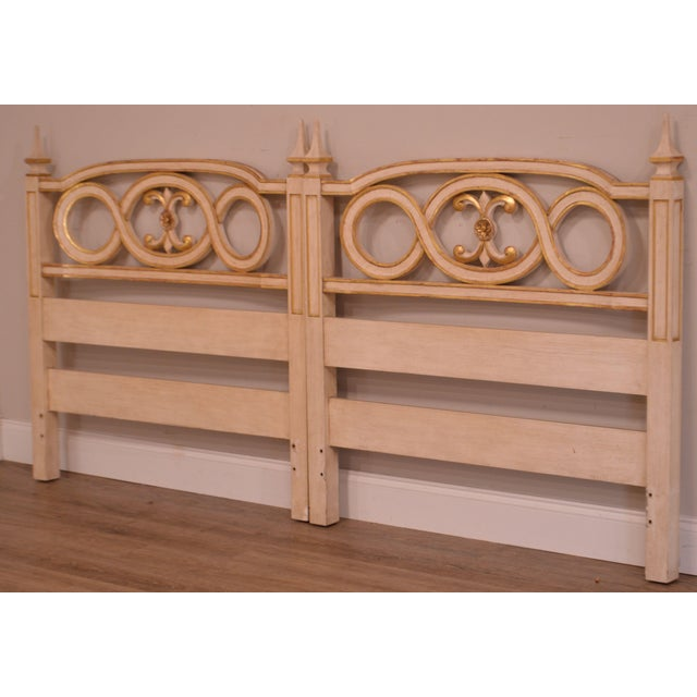 High Quality Vintage Pair of Hand Painted Solid Wood Headboards with Gold Accents