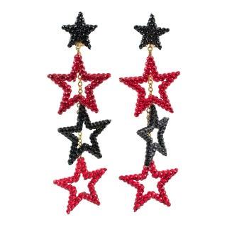 Richard Kerr Dangle Red Black Jeweled Star Clip Earrings For Sale