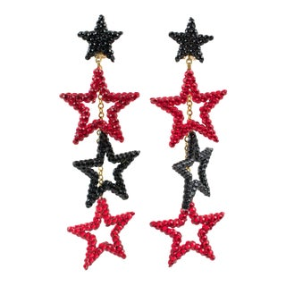 Richard Kerr Dangling Star Clip on Earrings Black and Red Rhinestones Paved For Sale