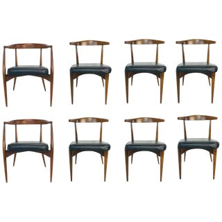Set of 8 1960s Lawrence Peabody Walnut and Leather Dining Chairs For Sale
