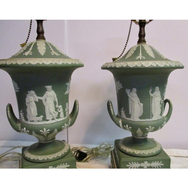 Ceramic Wedgewood Jasperware Urns Mounted as Lamps - a Pair For Sale - Image 7 of 10