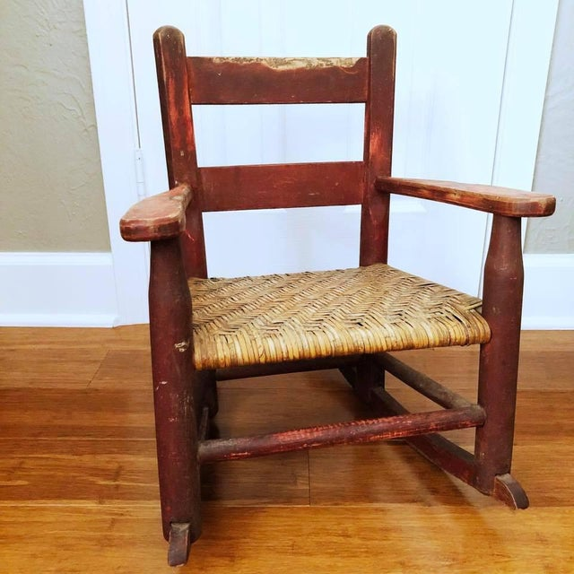 Antique Handmade Children's Red Rocking Chair With Wicker Seat For Sale - Image 9 of 9