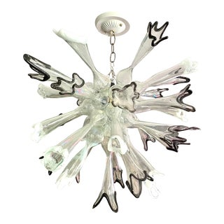 1980s Handblown Glass Chandelier For Sale