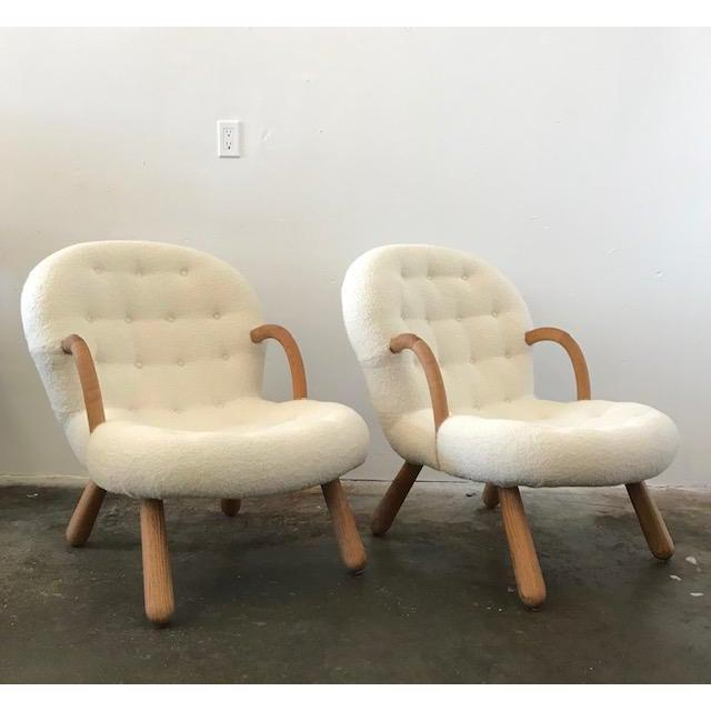 """Philip Arctander Philip Arctander Style """"Clam"""" Armchairs Boucle Fabric For Sale - Image 4 of 8"""