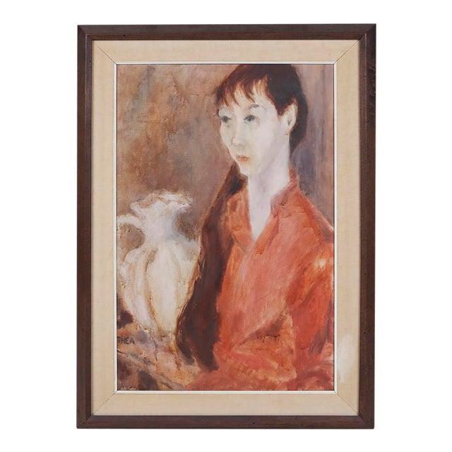 1960s Vintage Thea Wisser Portrait of a Woman Painting For Sale