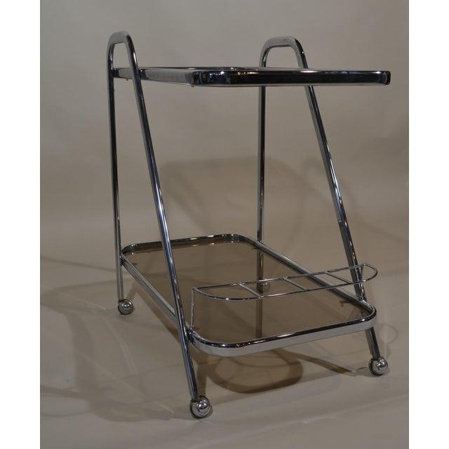 "Modern ""Art Moderne"" Chrome and Glass Bar Cart For Sale - Image 3 of 4"