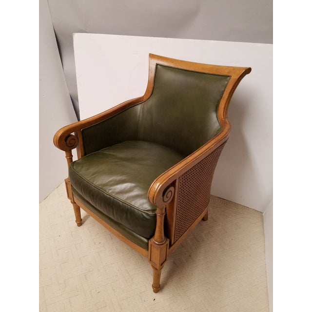 Neoclassical Style Olive Green Leather and Cane Fruitwood Armchair by Lexington Furniture - Image 7 of 7