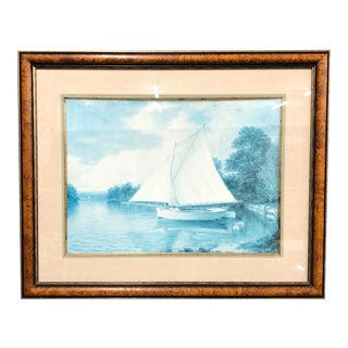 20th Century Blue Colored Seascape Print in Burl Frame For Sale
