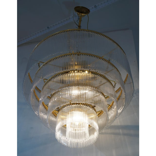 Mid-Century Modern Mid-Century Scolari Murano 7-Light Tiered Glass Tubes Chandelier For Sale - Image 3 of 10