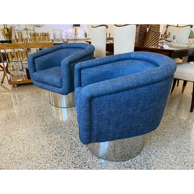 Mid-Century Modern Leon Rosen for Pace Chairs Memory Swivel - a Pair For Sale In West Palm - Image 6 of 13