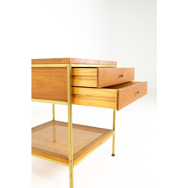 Paul McCobb for Calvin Group Mid Century Oak and Brass Nightstand For Sale - Image 10 of 13