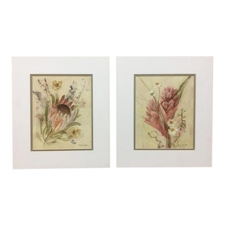 20th Century Floral Illustration Prints - a Pair For Sale