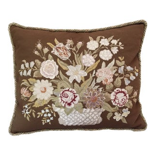 Vintage Embroidered Throw Pillow With Down Insert For Sale