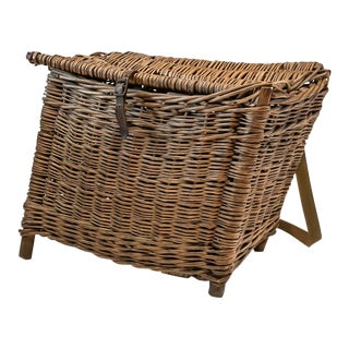 Large Vintage Fishing Creel Wicker Basket With Leather Strap For Sale