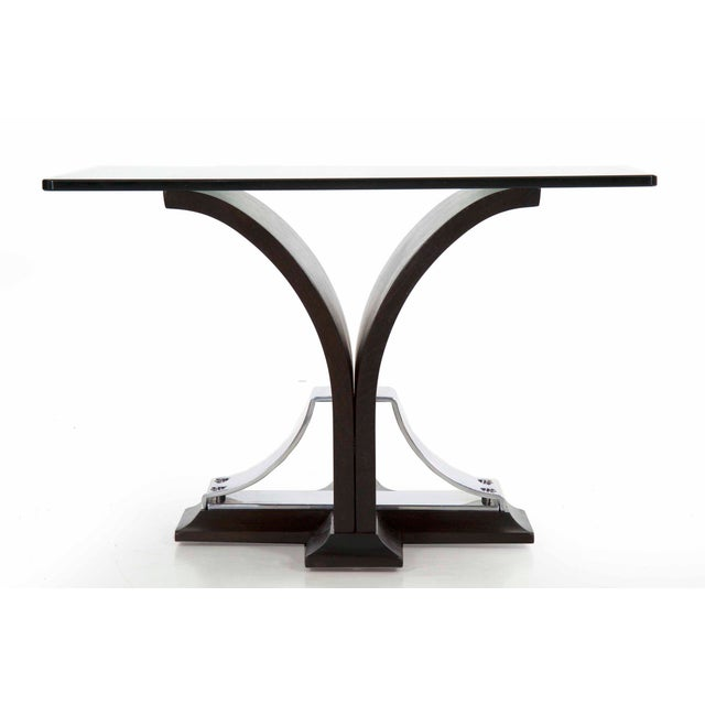 Art Deco Walnut and Aluminum Side Table For Sale - Image 4 of 13