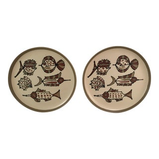 Mid-Century Fish Plates - A Pair For Sale