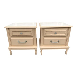 Pair of Faux Bamboo Nightstands For Sale
