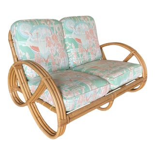 Restored Three-Strand Round Full Pretzel Loveseat Sofa With Arched Base For Sale
