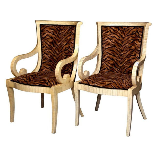 Enrique Garcel Off White Bone Arm Chairs, Signed-Pair Of. - Image 1 of 10
