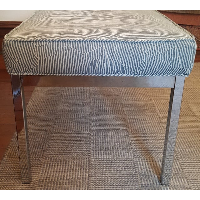 Striped Upholstered Chrome Bench For Sale - Image 5 of 6