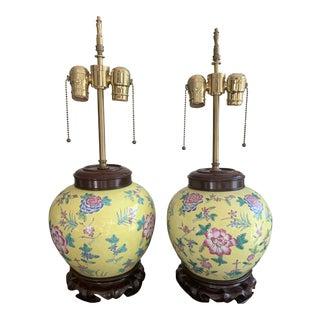 Antique Floral Yellow Jar Lamps - a Pair For Sale