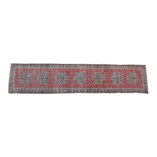 Vintage Turkish Red & Blue Runner - 2'5″ X 10'8″