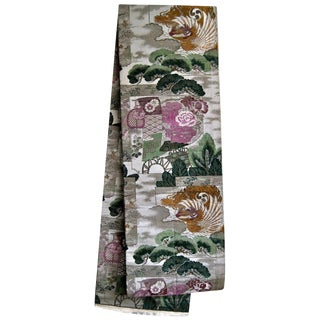 Japanese Obi Holy Buddhist Nishijin Woven Wall Hanging For Sale