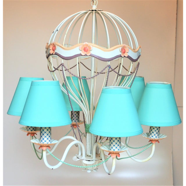 This is an incredibly unique and whimsical vintage six arm hot air balloon tole light fixture by Italian MM Lampadari...